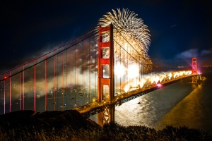 75th Anniversary Fireworks over Golden Gate Bridge (credit to http://www.allsparksfireworks.com blog)