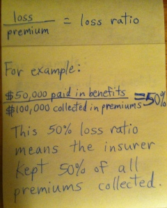 My crude, yet ingenious graphic on loss ratios. Please excuse my handwriting and my sarcasm!